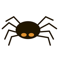 Scary big black spider isolated on white vector