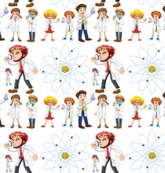 Seamless background with scientists and symbol vector image