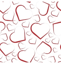 Seamless pattern with white hearts on red vector