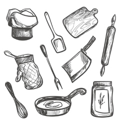 set hand drawn kitchen objects vector image