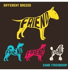 Set of dog breeds silhouettes with text inside vector image