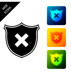 shield and cross x mark icon isolated denied vector image