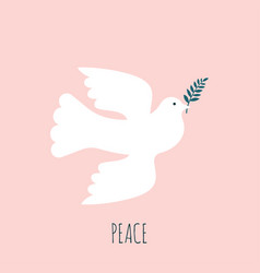 silhouette a flying dove with olive branch vector image