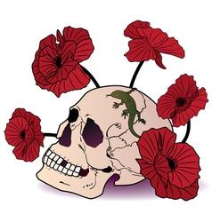 Skull lizard and poppies vector
