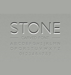 Stone carved font alphabet letters and numbers vector