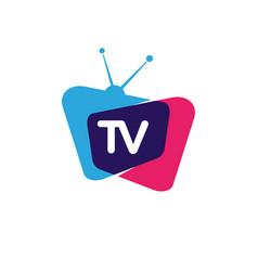 Tv icon logo design vector