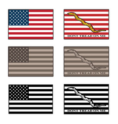 usa and dont tread on me flag set vector image