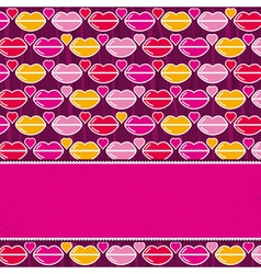 valentine background with pink and red lips vector image