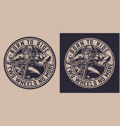 Vintage animal motorcyclist round label vector