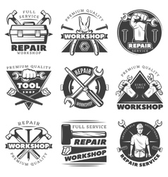 Vintage Repair Workshop Label Set vector image