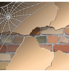 Wall with cobwebs vector image