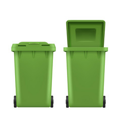 waste bin set green plastic street can vector image