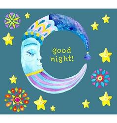 Watercolor Moon for children design vector
