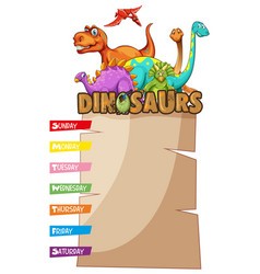 weekly planner with dinosaurs in background vector image