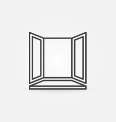 window with window-sill linear icon or logo vector image