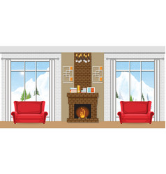 winter home interior with a fireplace vector image