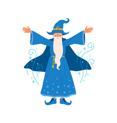 wizard with gray haired beard raising hands vector image