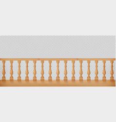 Wooden balustrade balcony railing or handrails vector