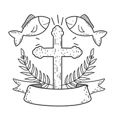 wooden cross with fishes vector image