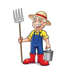 cartoon farmer standing vector image