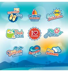Summer label sticker badge icon set vector image vector image