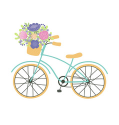 bicycle with a basket full of flowers vector image
