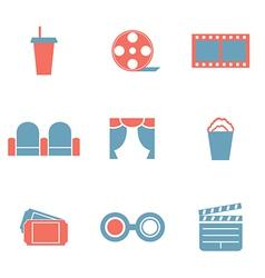 Flat Design Duotone Cinema Icons vector image