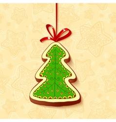 Christmas tree chocolate honey-cake greetings card vector image vector image