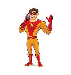 handsome superhero talking vector image vector image