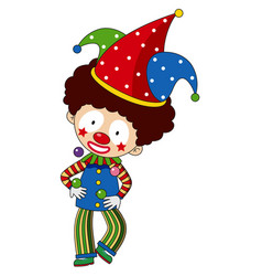 happy clown with colorful hat vector image