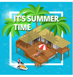 its summer time or summer vacation concept vector image