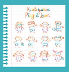 Kindergarten Line Drawing Kids Characters Set vector image