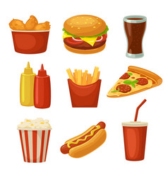 set fast food icon cup cola chips burrito vector image vector image