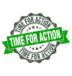Time for action stamp sign seal vector