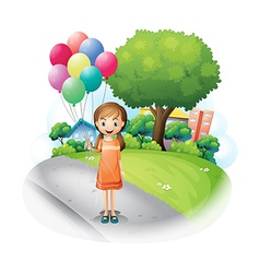 A girl at the road with eight balloons vector image vector image