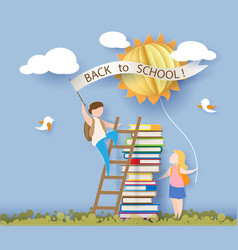 back to school card with kids books and sun vector image