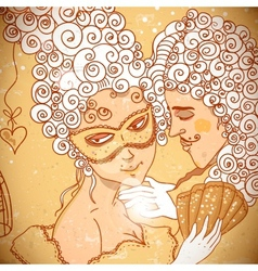 Cute background in cartoon style a pair of lovers vector image