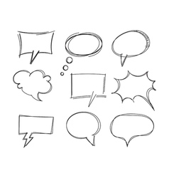 Freehand drawing bubble speech items vector image