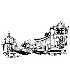 marker drawing of Khreshchatyk the main street of vector image