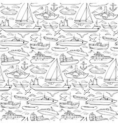 Sea transportation doodle seamless pattern vector image