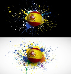 spain flag with soccer ball dash on colorful vector image