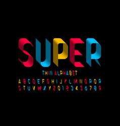 3d super thin font design alphabet letters and vector image