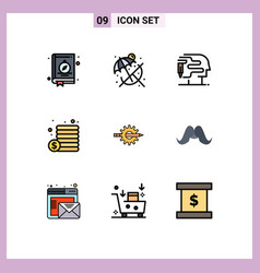 9 creative icons modern signs and symbols gear vector