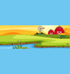 A farmland landscape at sunset vector