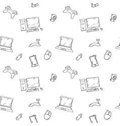 a seamless pattern hand drawn doodles of vector image