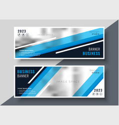 abstract geometric blue business banners design vector image
