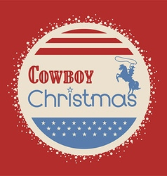 American cowboy christmas greeting card vector