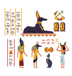 Ancient egypt wall art or mural cartoon vector
