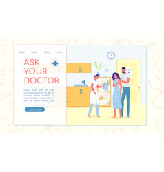 Ask your doctor flat landing page with copy space vector