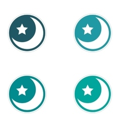 assembly sticker logo moon and star on a white vector image